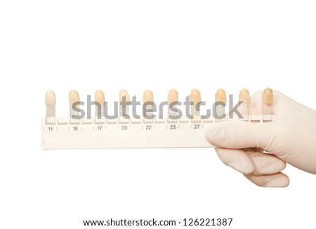 Dental teeth shades samples,dental color shade guide isolated on white