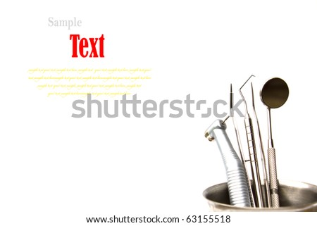 Dental tools and equipment. Over white background - stock photo