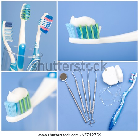 Dental tools, floss and toothbrush. Over blue  background