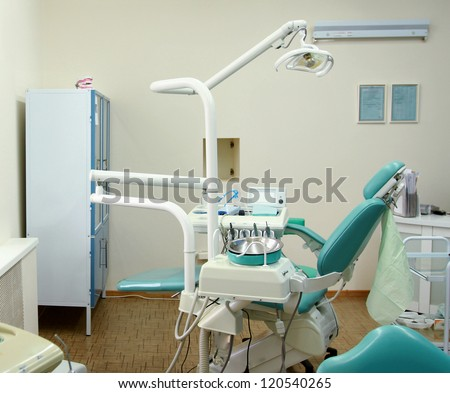Dental tools on a dentist's chair