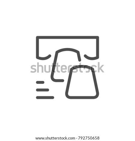 Dental veneer line icon isolated on white