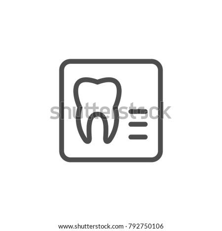 Dental x-ray line icon isolated on white