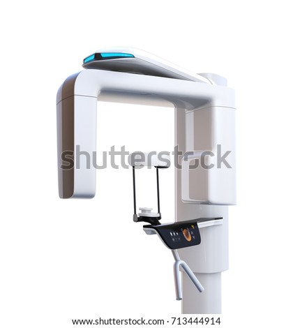 Dental X-ray machine isolated on white background. 3D rendering image with clipping path.