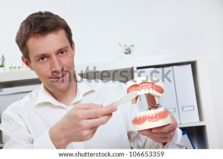 Dentist brushing teeth on dental model with oversized toothbrush