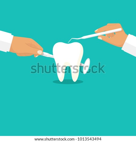 Dentist holding instruments in the hands of examining the patient's tooth.Illustration flat design. Isolated on background. Stomatology concept. Oral hygiene. Advertising, promotion clinic.
