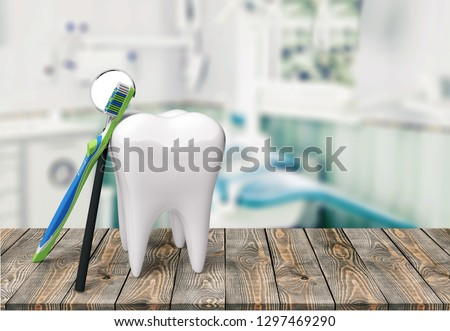 Dentist human teeth toothbrush dental hygiene white isolated three-dimensional shape #1297469290