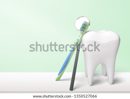 Dentist mirror tooth white background isolated shape #1350527066