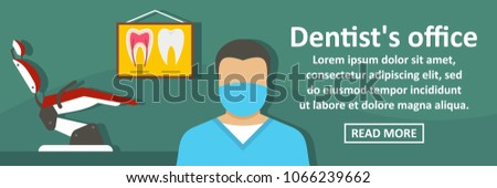 Dentist office banner horizontal concept. Flat illustration of dentist office banner horizontal concept for web
