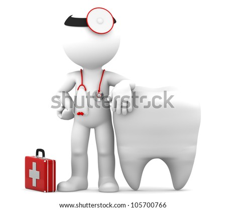 Dentist with stethoscope standing in front of big white tooth. Isolated