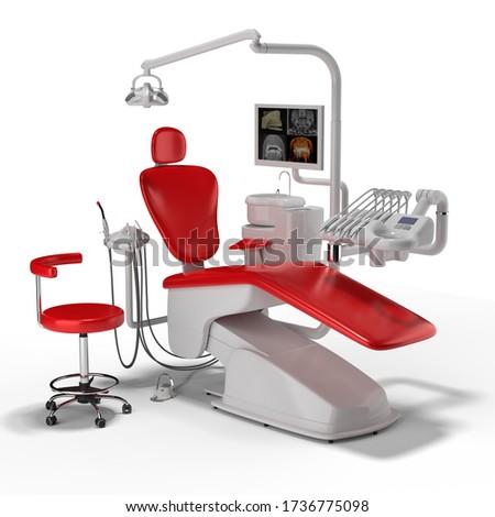 dentistry chair tooth dental drill 3D rendering Ilustracja w 3D Zdjęcia stock ©