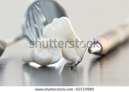 Dentistry. Wisdom teeth and dental tools