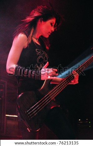 DENVER - APRIL 21:Bassist Emma Anzai of the Alternative Rock band Sick Puppies performs in concert April 21, 2011 at the Ogden Theater in Denver, CO.