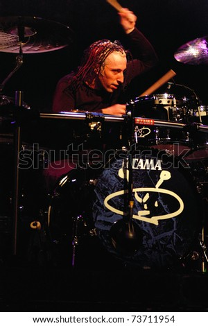 DENVER - APRIL 2: Drummer Morgan Rose of the Heavy Metal band Sevendust performs in concert April 2, 2003 at the Fillmore Auditorium in Denver, CO.