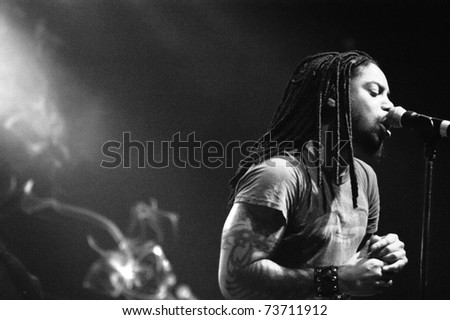 DENVER - APRIL 2: Vocalist Lajon Witherspoon of the Heavy Metal band Sevendust performs in concert April 2, 2003 at the Fillmore Auditorium in Denver, CO.