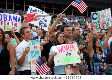 DENVER - AUG 28: Supporters of democratic presidential candidate Barack Obama holding posters at Invesco Field at Mile High Stadium on August 28, 2008 in Denver, Colorado