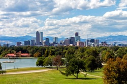 Denver city and beautiful park in autumn day,Colorado.