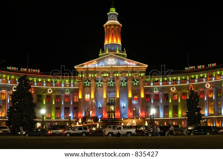 Denver City and County Building lit for Christmas