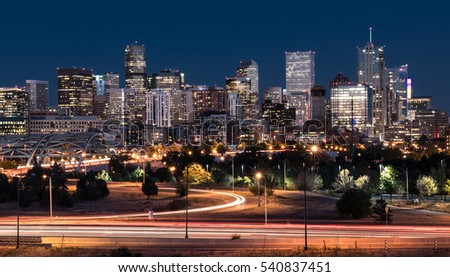 DENVER,CO - OCTOBER 7: Denver night skyline from across the South Platte River