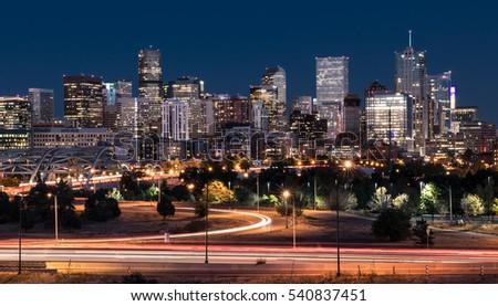 DENVER,CO - OCTOBER 7: Denver night skyline from across the South Platte River