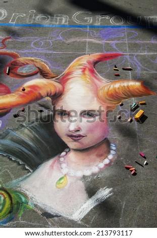 DENVER, COLORADO/ MAY 31.   2014 Denver Chalk Art Festival on Larimer Square.