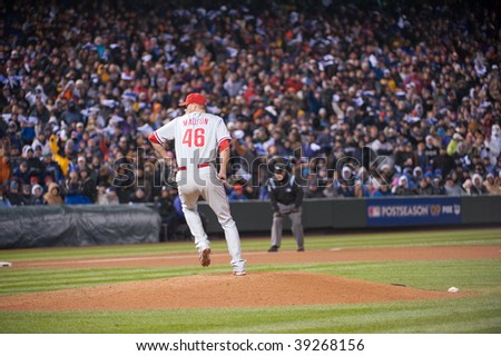 DENVER, COLORADO - OCTOBER 11: Ryan Madson of the Phillies on the mound in  game 3 of the Rockies, Phillies National League Division Series on October 11, 2009 in Denver Colorado.