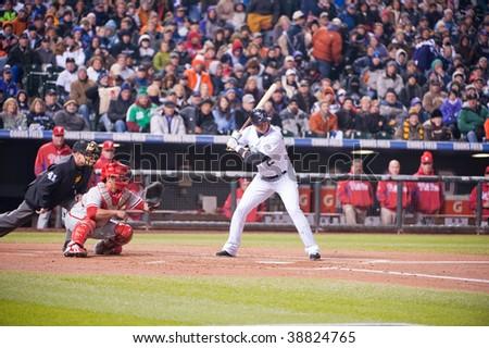 DENVER, COLORADO - OCTOBER 11:  Troy Tulowitzki at bat in game 3 of the Colorado Rockies, Philadelphia Phillies National League Division Series on October 11, 2009 in Denver Colorado.