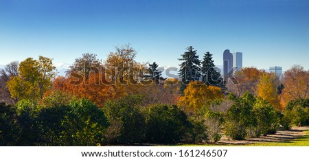 Denver, Colorado - Panoramic view of City Park and downtown skyline in Fall