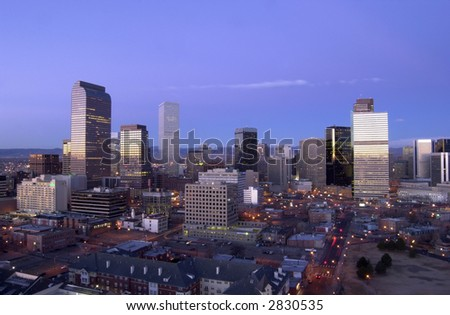 Denver, Colorado skyline at sunrise