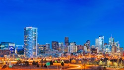 Denver, Colorado, USA downtown city skyline at night.