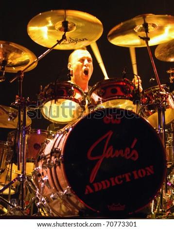 DENVER - DECEMBER 28: Stephen Perkins drummer for alternative band Jane's Addiction performs live in concert December 28, 2002 at the Fillmore Auditorium in Denver, CO.