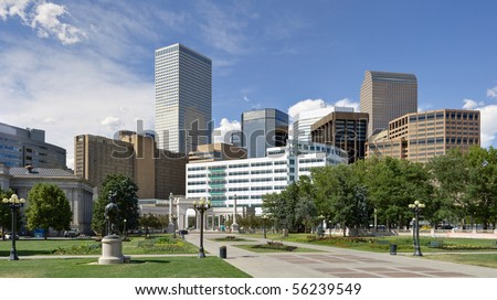 Denver downtown view from south east side of town