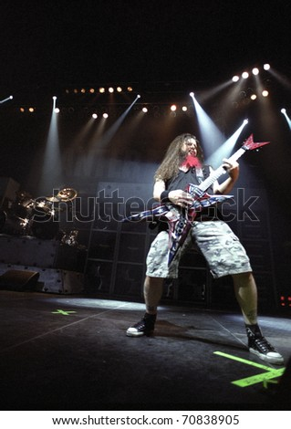 DENVER - FEBRUARY 13: Darrell Dimebag Abbott guitarist for the Heavy Metal band Pantera performs live in concert February 13, 2001 at the Coliseum in Denver, CO.