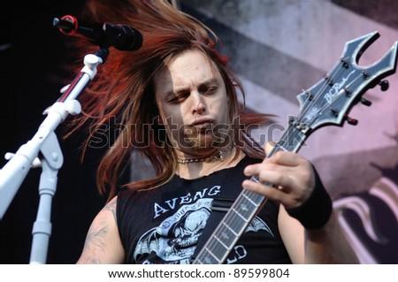 DENVEROCTOBER 5:Vocalist/Guitarist Matthew Tuck of the Heavy Metal band Bullet For My Valentine performs in concert October 5, 2011 at the Comfort Dental Amphitheater in Denver, CO.