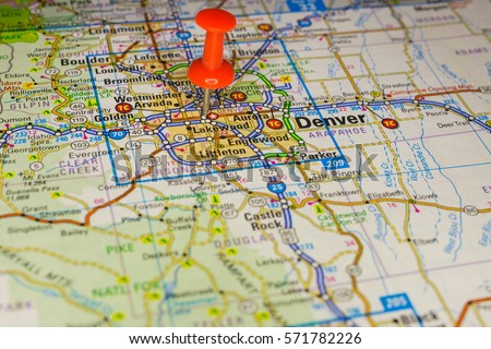 Denver Pinned On A Map Of Usa Ez Canvas