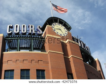 DENVER - SEPTEMBER 30: Coors Field, home ballpark of the playoff bound Colorado Rockies, before a late season baseball game September 30, 2009 in Denver. - stock photo