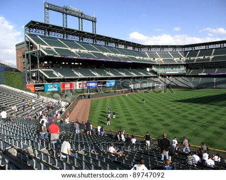 DENVER - SEPTEMBER 30: Practice before a baseball game at Coors Field, home of the Rockies, on September 30, 2009 in Denver, Colorado. Opened in 1995, it seats 50,490 fans and cost $300 million.