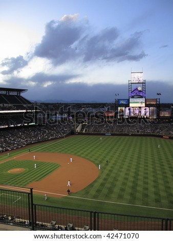 DENVER - SEPTEMBER 30: Scenic Coors Field, home ballpark of the Colorado Rockies, with a view of the Rocky Mountains before a baseball game September 30, 2009 in Denver.