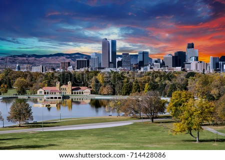 Denver skyline across city park in autumn