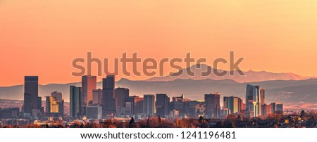Denver skyline and the Pikes Peak at sunset - Super High Resolution Image  #1241196481