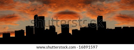 Denver skyline at sunset with beautiful sky illustration - stock photo