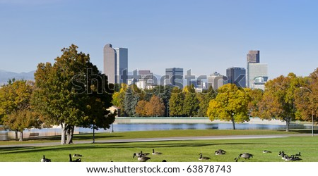 Denver Skyline in Autumn with park and lake in view