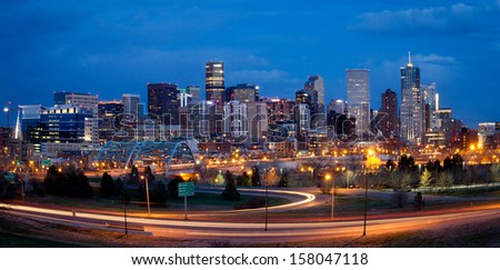 Denver skyline long exposure at night.