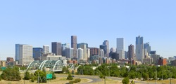 Denver Skyline Panorama 2010. Late afternoon summer.