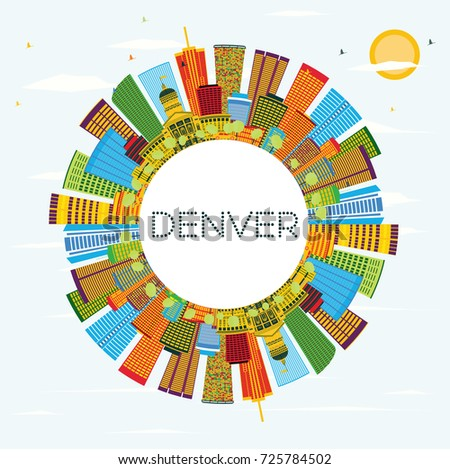 Denver Skyline with Color Buildings, Blue Sky and Copy Space. Business Travel and Tourism Concept with Modern Architecture.
