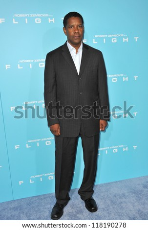"Denzel Washington at the Los Angeles premiere of his new movie ""Flight"" at the Cinerama Dome, Hollywood. October 23, 2012  Los Angeles, CA"