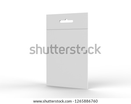 Deodorant Hanging white blank cardboard packaging box with hang tab retail box for mock up design isolated on white background, 3d illustration.