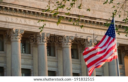 Department of Agriculture office building, American flag