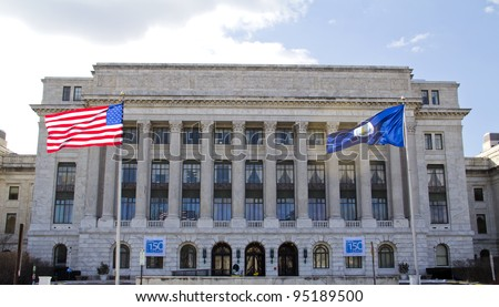 Department of Agriculture office building, American flag flapping, in Washington DC, United States