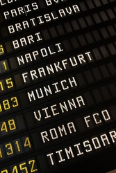 Departure board at an airport in Italy. Flights to Paris, Bratislava, Bari, Napoli (Naples), Frankfurt, Munich, Vienna and Rome.