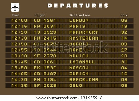 Departure board - destination airports. Europe destinations: London, Paris, Frankfurt, Amsterdam, Madrid, Rome, Munich, Istanbul, Moscow, Zurich, Barcelona and Oslo.